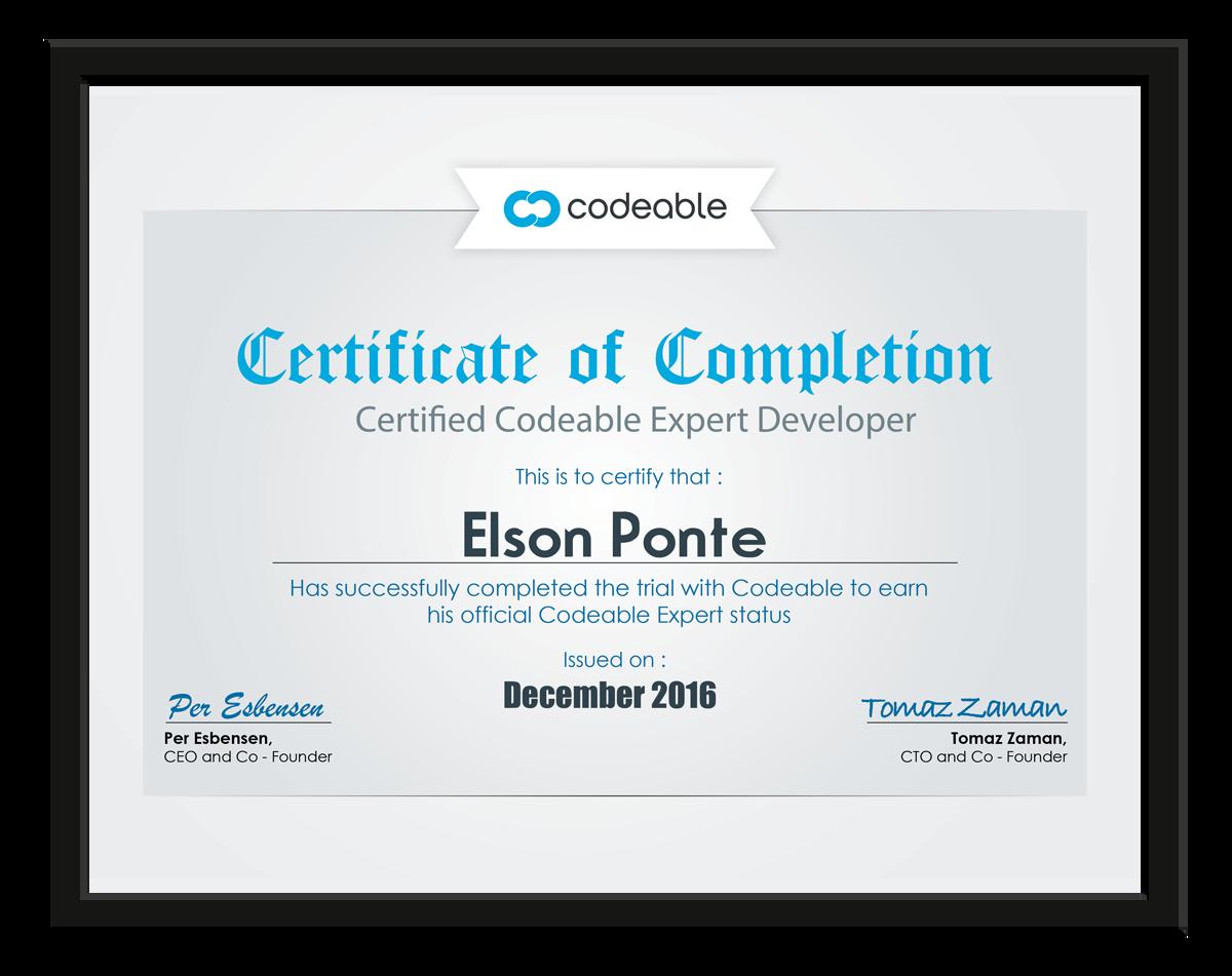 Codeable Certified Expert Developer Certificate